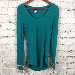 We The Free People Lou Thermal Plaid Cuff Teal L